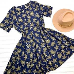 EVERLY short sleeve floral 50s inspired dress